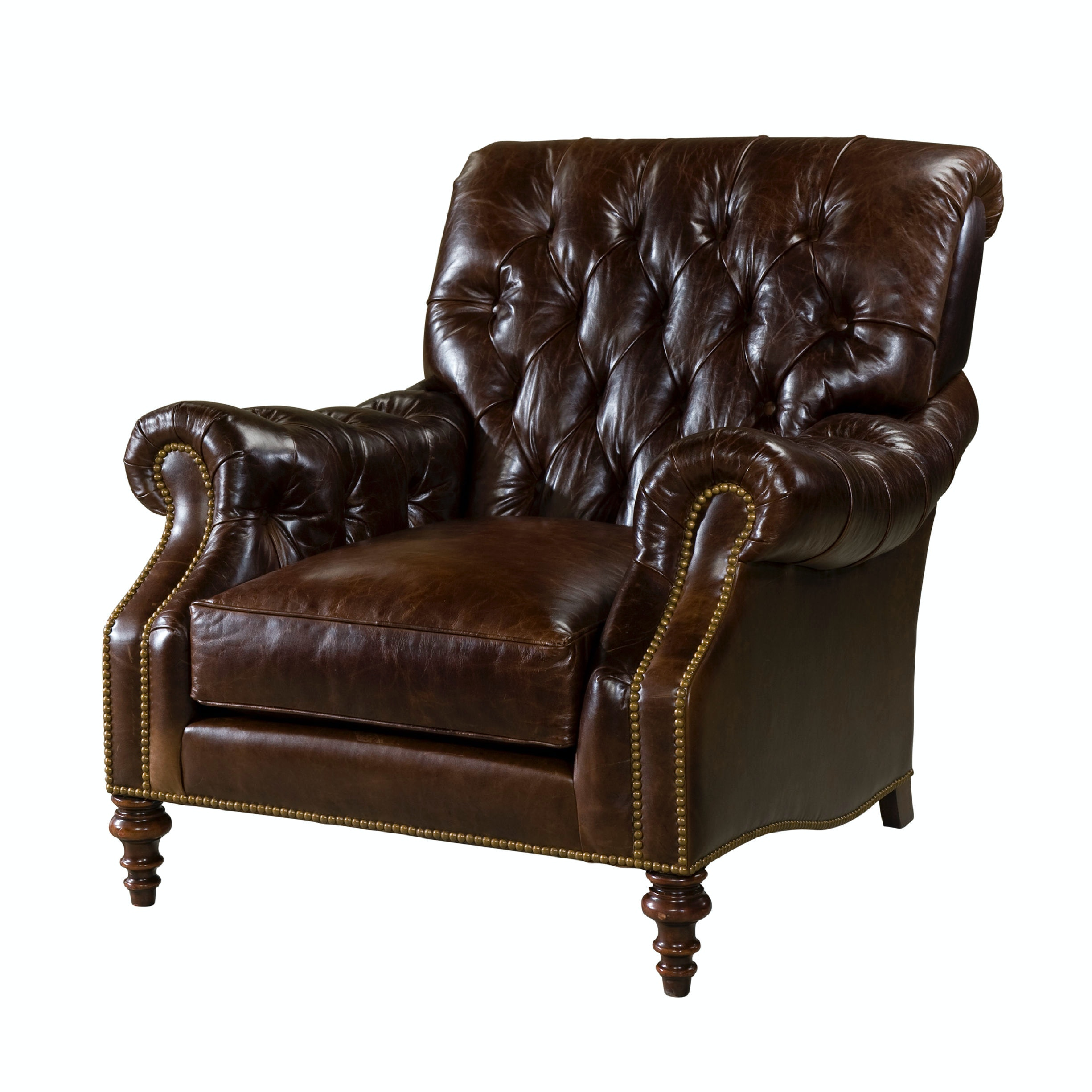 tufted leather sofa edmonton porter malibu chocolate brown sectional with ottoman theodore alexander living room bette upholstered chair