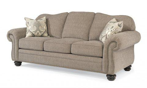 flexsteel bexley sofa corner sale one tone fabric with nailhead trim