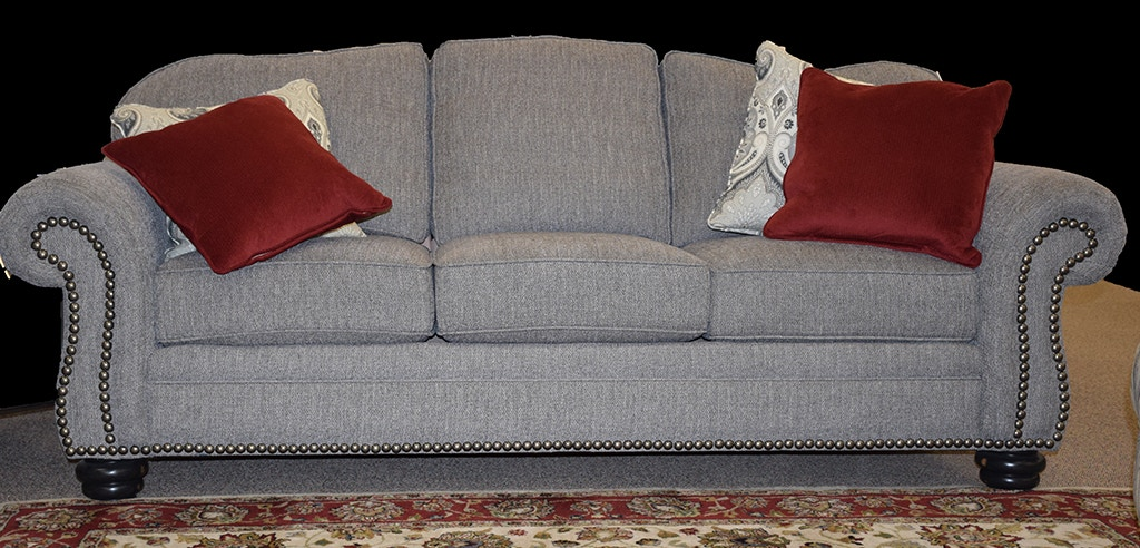 flexsteel bexley sofa cheap bed sectionals living room one tone fabric with nailhead