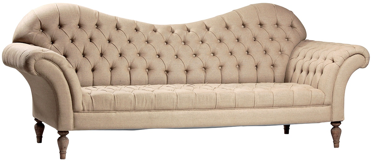 french linen tufted sofa comfort sleeper sale dovetail living room liza four states furniture texarkana at