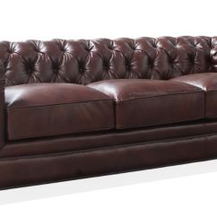 Tufted Leather Sofa Edmonton Grey And White Cushions Hudson Living Room Kingston 100 419390