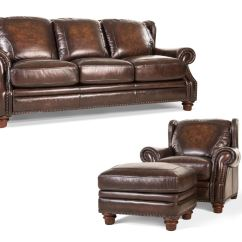 Leather Couch And Chair High For Baby Boy Futura Living Room Frankford Sofa Ottoman