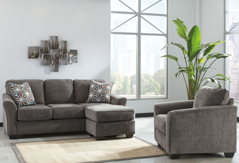 chaise chairs for living room seating furniture benchcraft 8 piece set sofa with chair 2 lamps