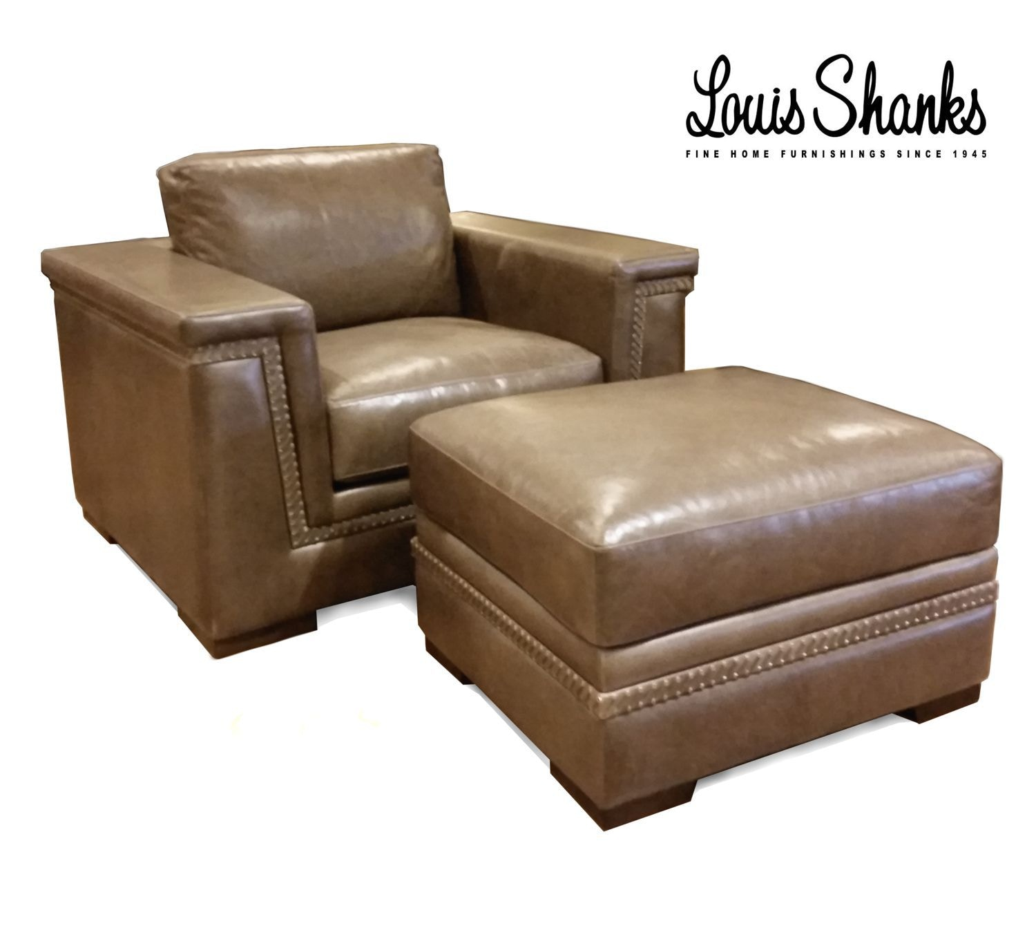 leather chair ottoman set wheelchair marathon artistic living room and with hand lacing al 1221 1 s