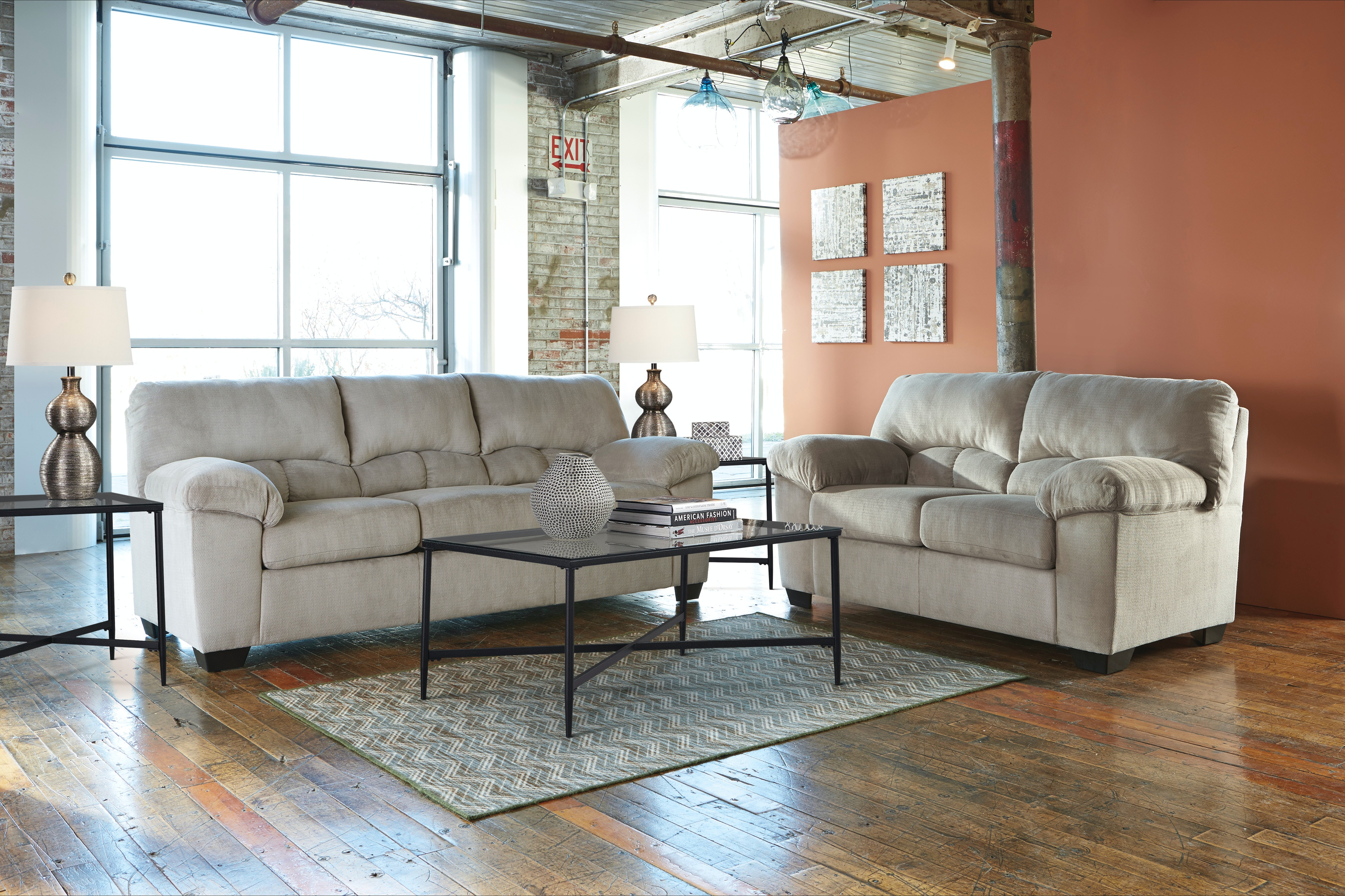 living room package blue with dark furniture 7 piece signature design by ashley 95401 at feceras mattress