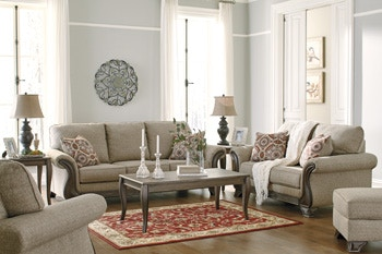 living room package design ideas for 7pc claremorris includes wood trim sofa loveseat and matching 3pc cocktail 2 end tables two lamps signature by ashley