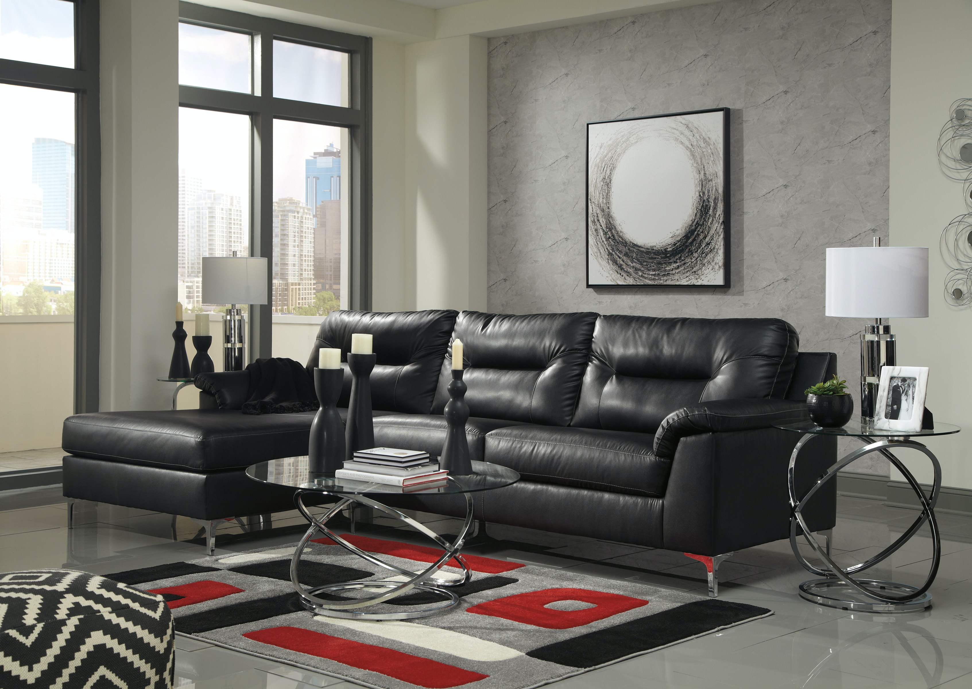 living room package tiles floor 5pc tensus black signature design by ashley 39604 16 67