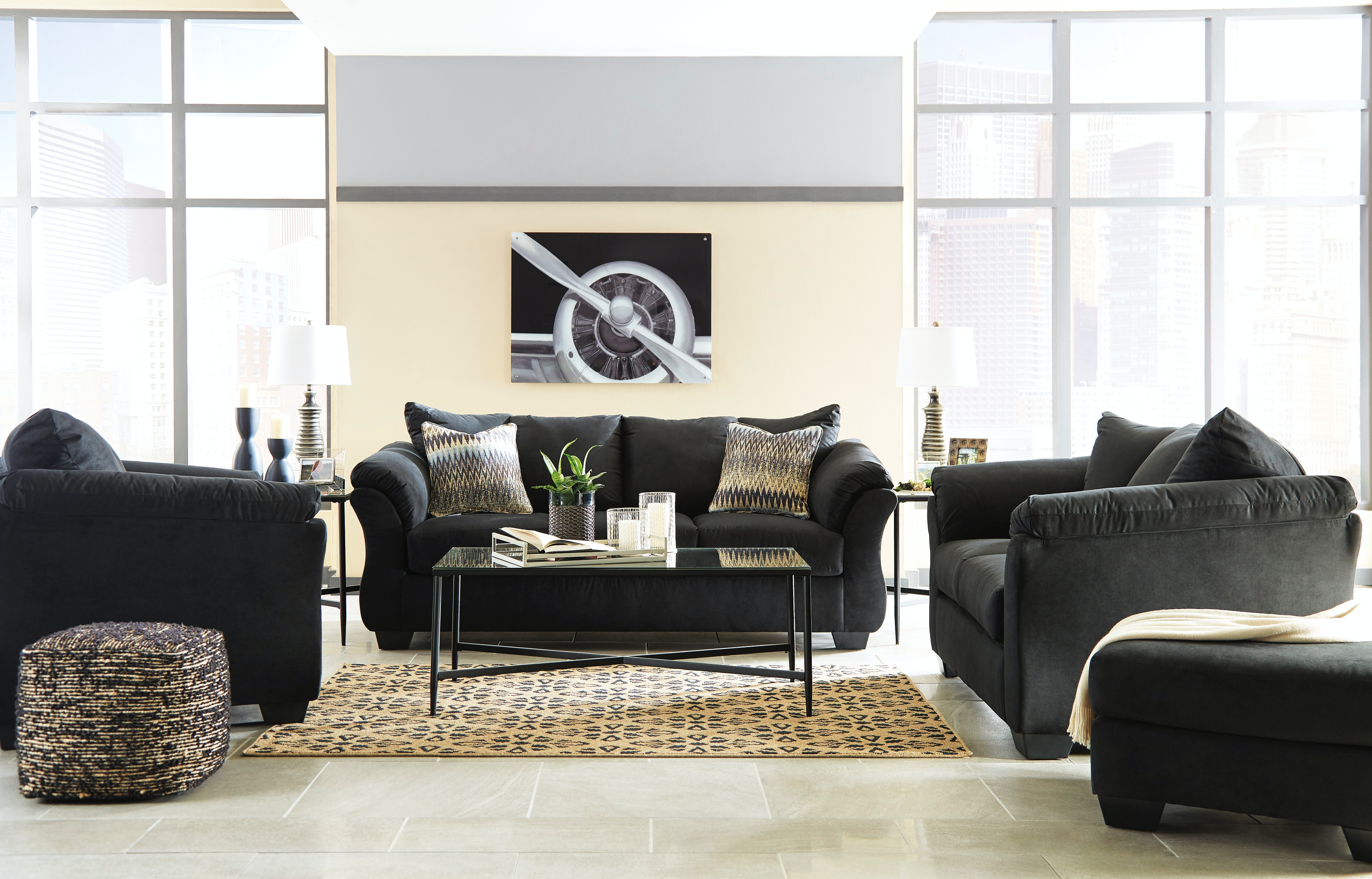 living room package small decorating ideas with fireplace 5pc darcy includes sofa loveseat and 3pak table set available in 7 colors signature design by ashley