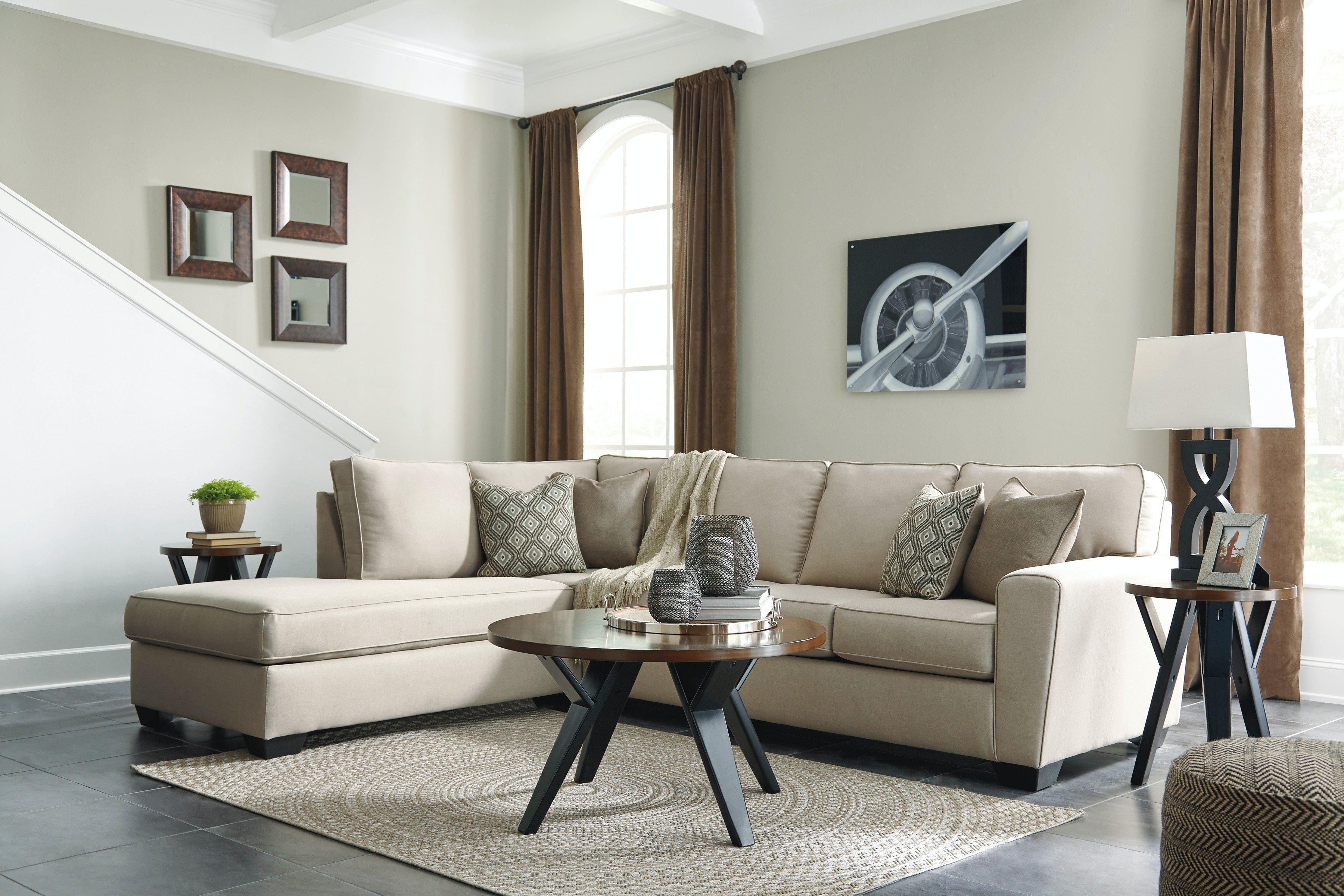 living room package modern wall clocks for 6pc calicho signature design by ashley 91203 16 67 t267