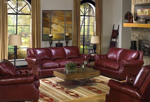 USA Premium Leather Living Room Marsala Red Sofa 2146970 Swanns Furniture Tyler TX