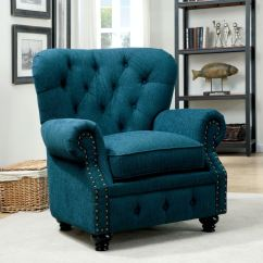 Teal Living Room Chair Modern Curtains For Small Furniture Of America Dark Cm6269tl Ch The At Mall