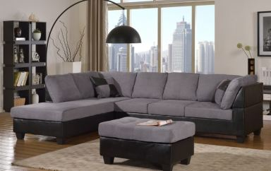 Master Furniture Living Room Twotone grey sectional sofa
