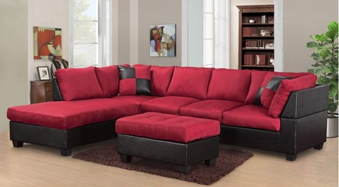 Master Furniture Living Room Twotone red sectional sofa