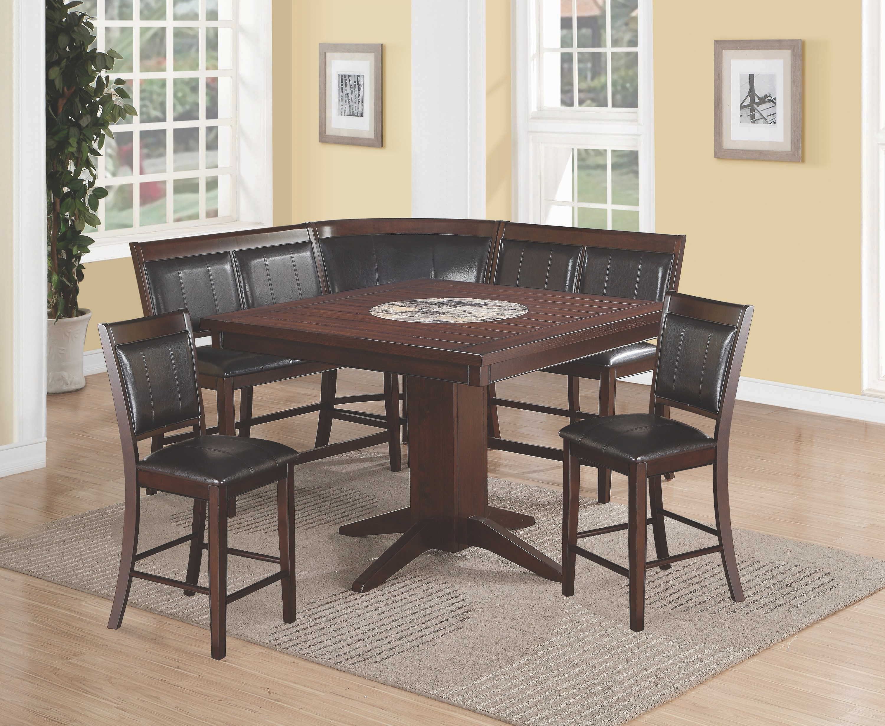 table and 2 chairs cheap rattan sets crown mark counter height corner chair bench on 2726