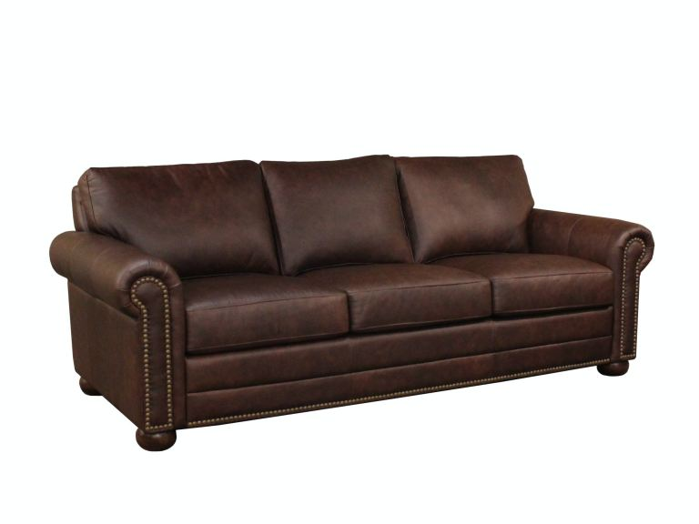 athens 100 top grain leather 3 seat sofa with nailhead
