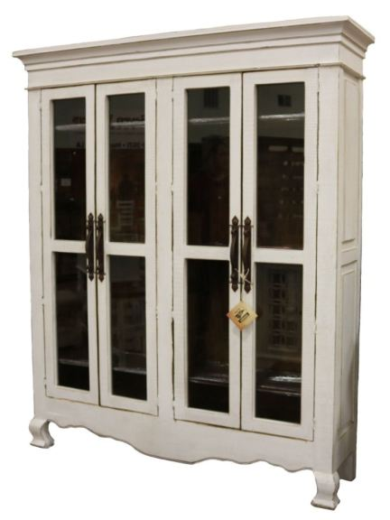 rustic weathered white large armoire with dark brown stain inside