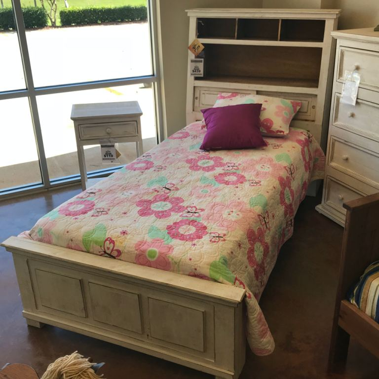 rustic weathered white jumbo twin bed with shelves