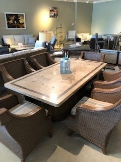 living room sets naples fl contemporary decor clearance island elegance with this 7 piece stone top dining set floor model marco at zing casual