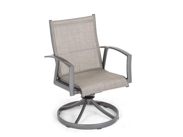 ventura pewter aluminum sling swivel rocker dining chair