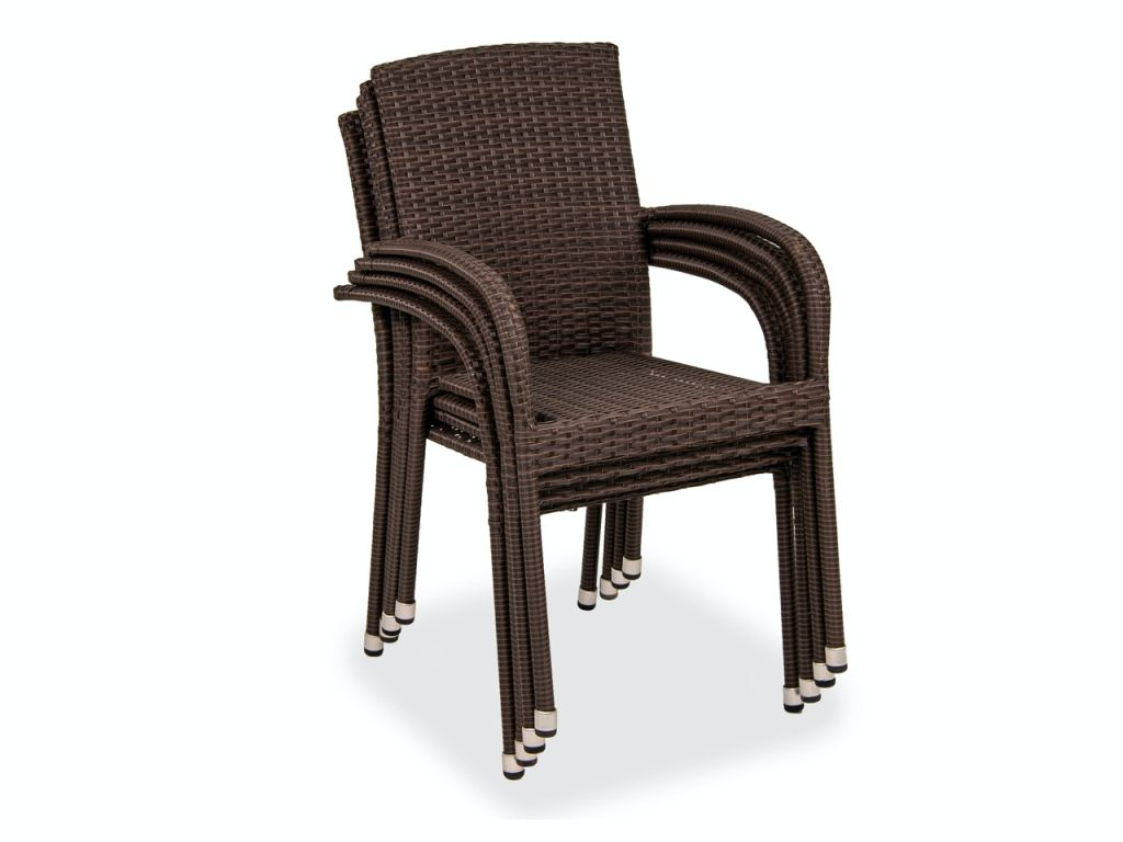 barbados coffee steel and outdoor wicker 4 pc stacking dining chair