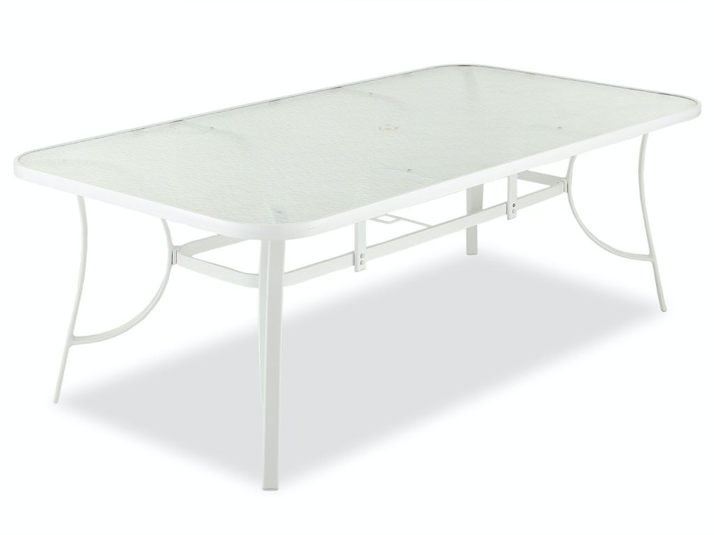 cape coral white aluminum 84 x 42 in glass top dining table