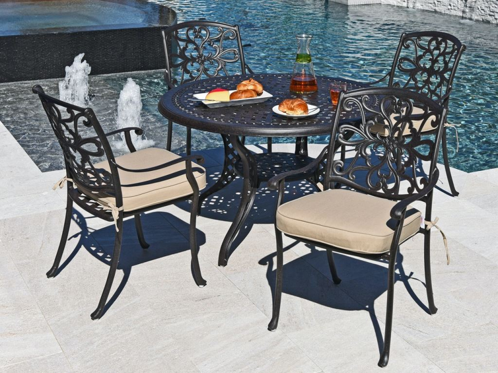 carlisle aged bronze cast aluminum 5 pc dining set with 48 in dining table
