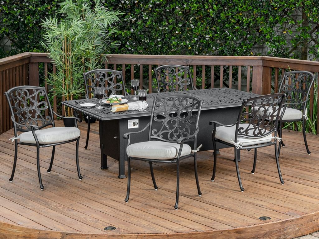 carlisle aged bronze cast aluminum 7 pc dining set with 84 x 44 fire pit dining table