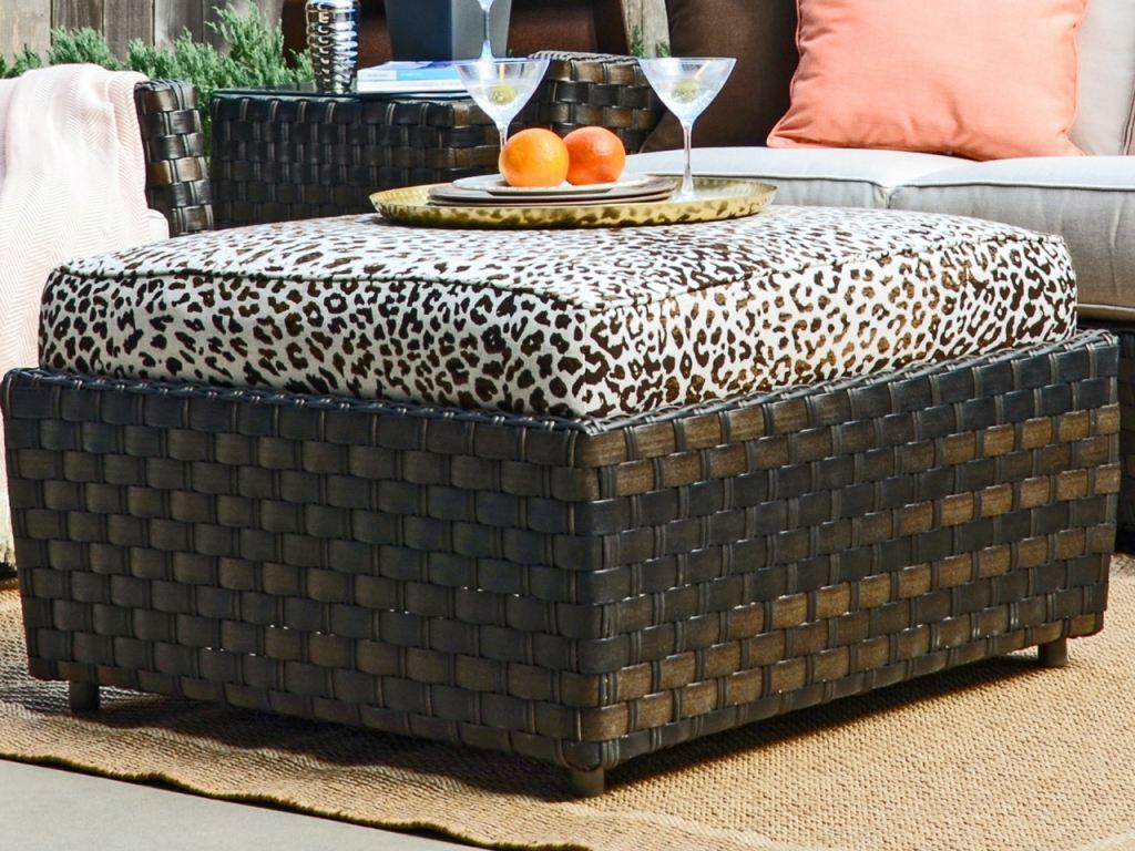 catalina cigar outdoor wicker and instinct espresso cushion ottoman coffee table