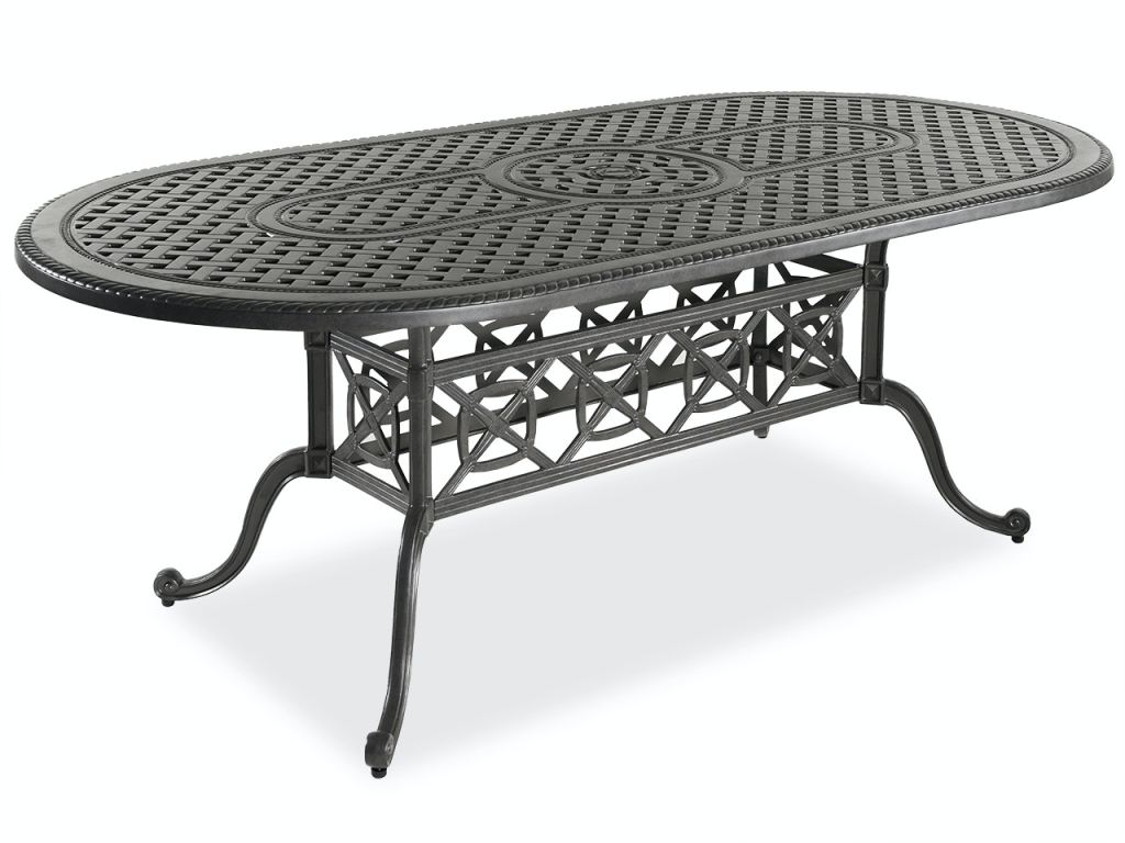 florence shade cast aluminum 86 x 42 in dining table