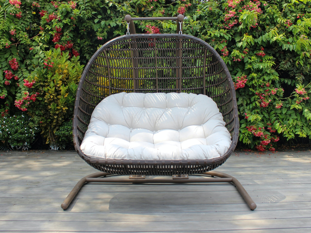 Living Room Chocolate Outdoor Wicker With Cast Pumice Cushion Hanging Double Chair Swing 7813746
