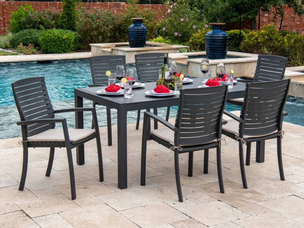miami dark grey aluminum and cappucino cushion 7 pc dining set with 63 x 36 in dining table