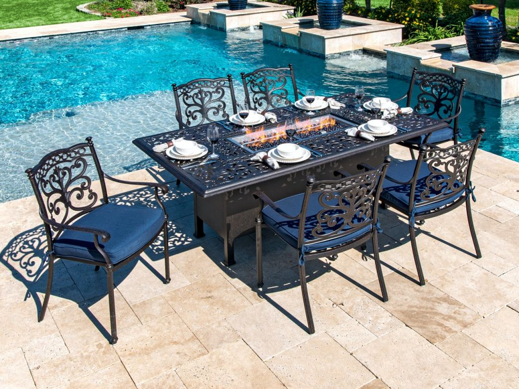 milan aged bronze cast aluminum 7 pc dining set with 84 x 44 in fire pit table