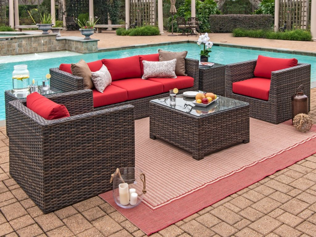modena aspen outdoor wicker 4 pc spectrum cherry cushion sofa seating with 32 x 32 in glass top coffee table