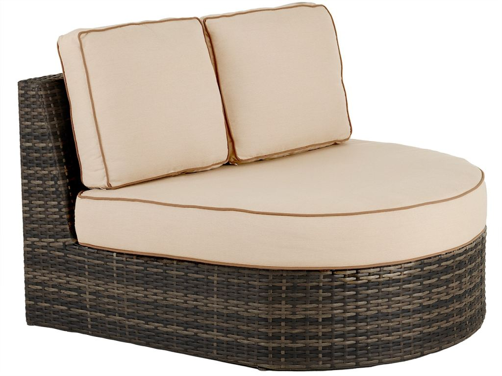 san lucas canola seed outdoor wicker and spectrum sand cushion right facing cuddle bed sectional