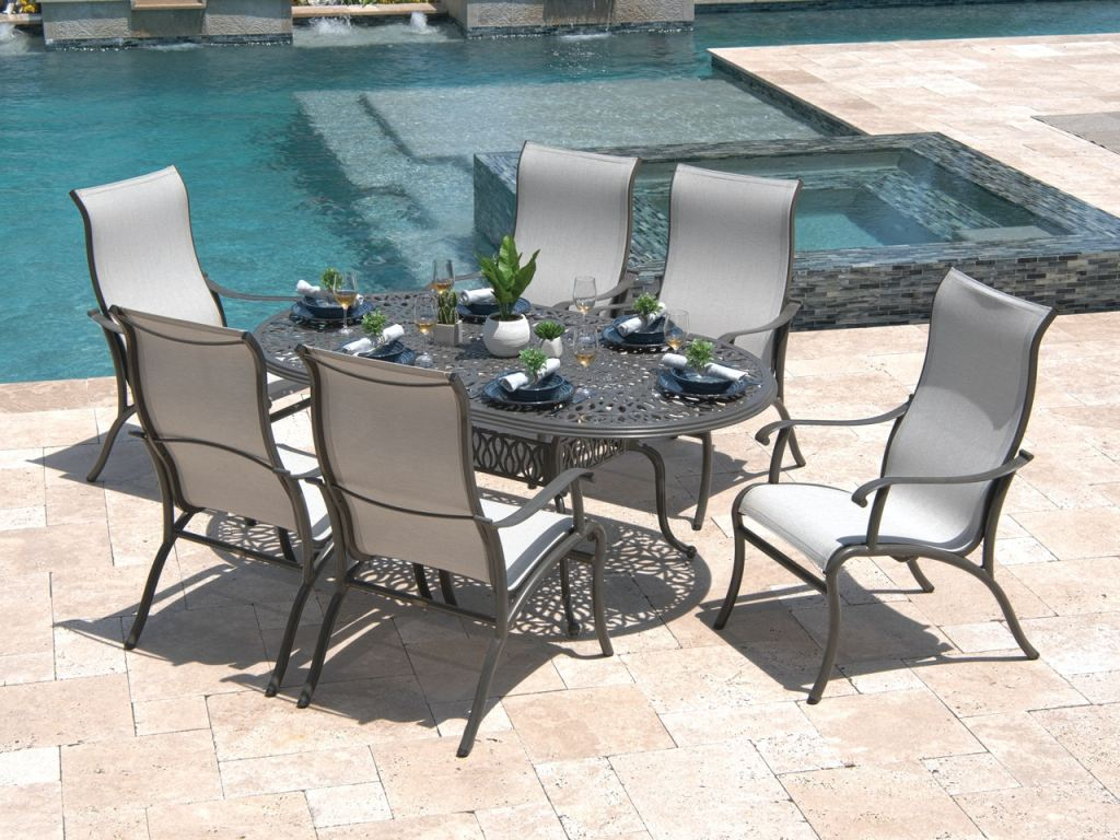 scarsdale smokey grey aluminum and system stone sling 7 pc dining set with 84 x 42 in dining table