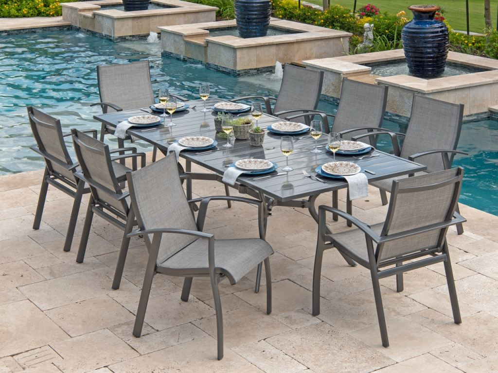 ventura pewter aluminum and augustine pewter sling 9 pc dining set with 94 74 x 44 in extension dining table