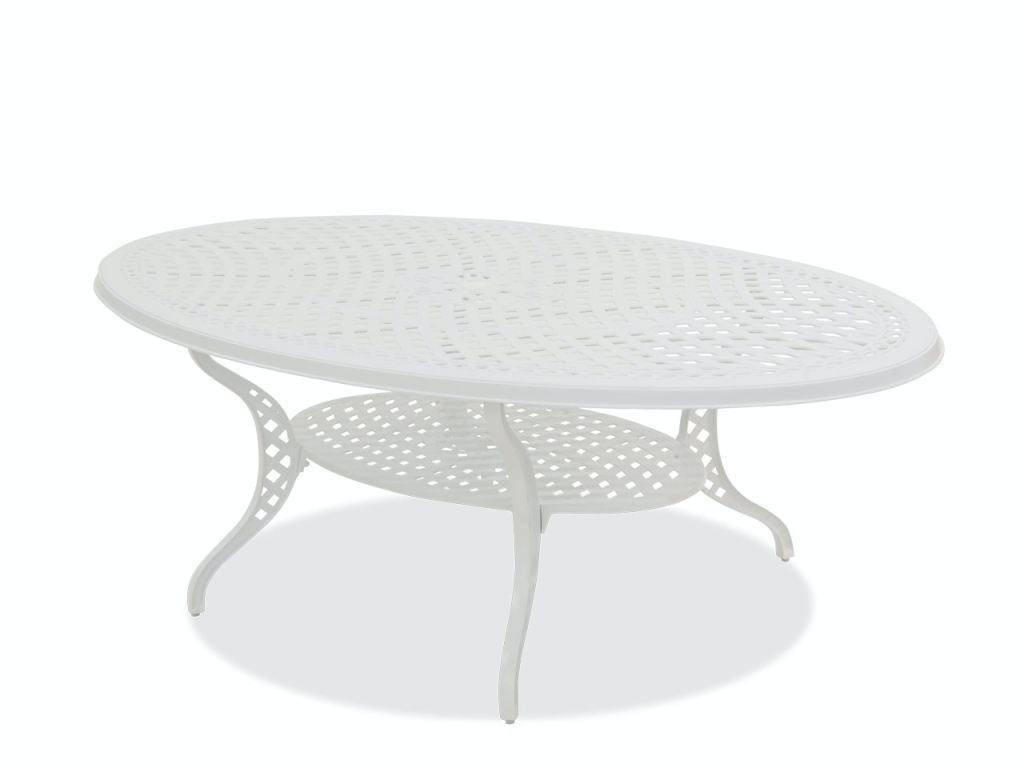 yacht club matte white cast aluminum 87 x 48 in oval dining table
