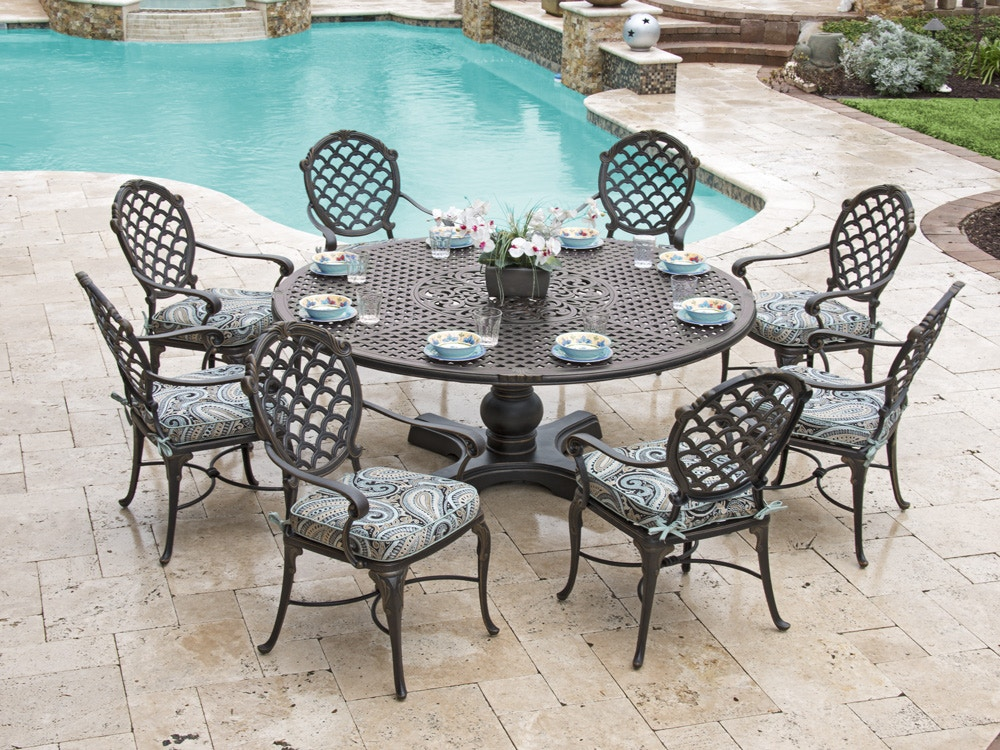bordeaux golden bronze cast aluminum 9 pc dining set with 72 in d table with inlaid lazy susan