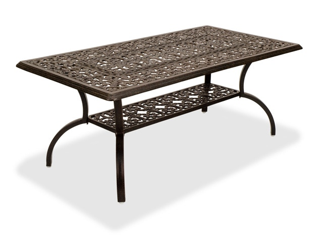 milan aged bronze cast aluminum 45 x 24 in coffee table with storage shelf