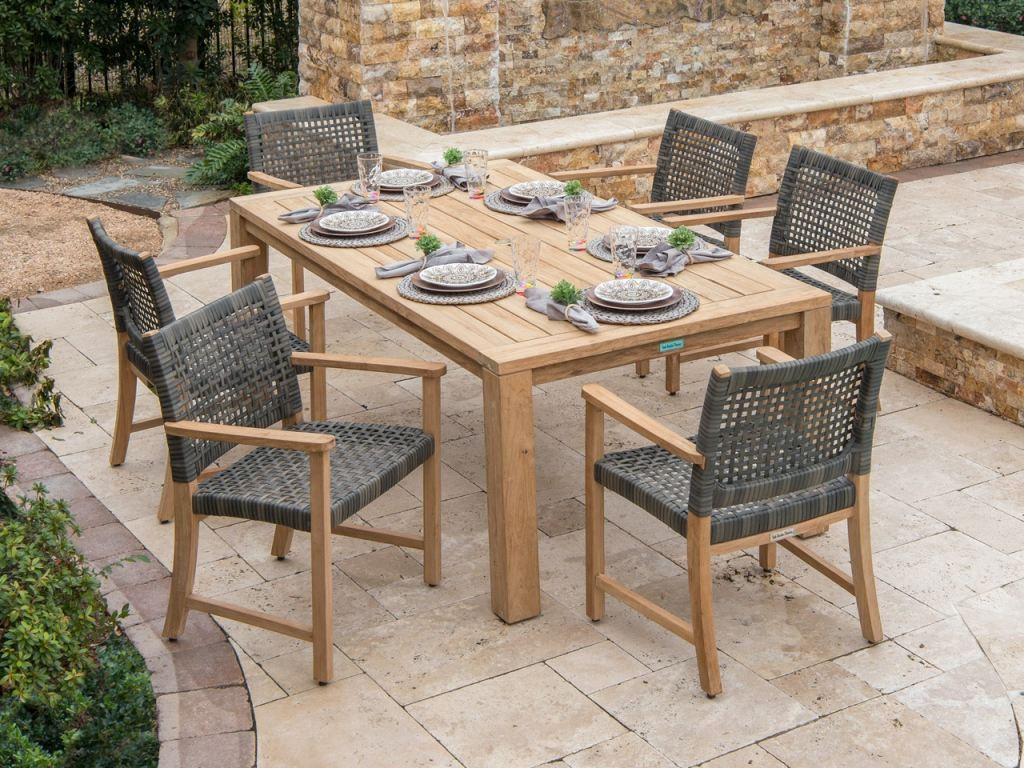 hampton driftwood aluminum outdoor wicker and solid teak 7 pc dining set with 79 x 43 in dining table
