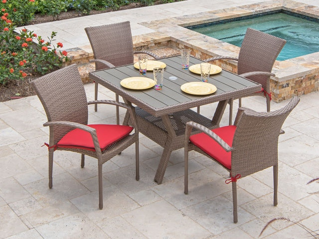 Outdoor Wicker Dining Chairs Sierra Driftwood Aluminum Outdoor Wicker 5 Pc Dining Set