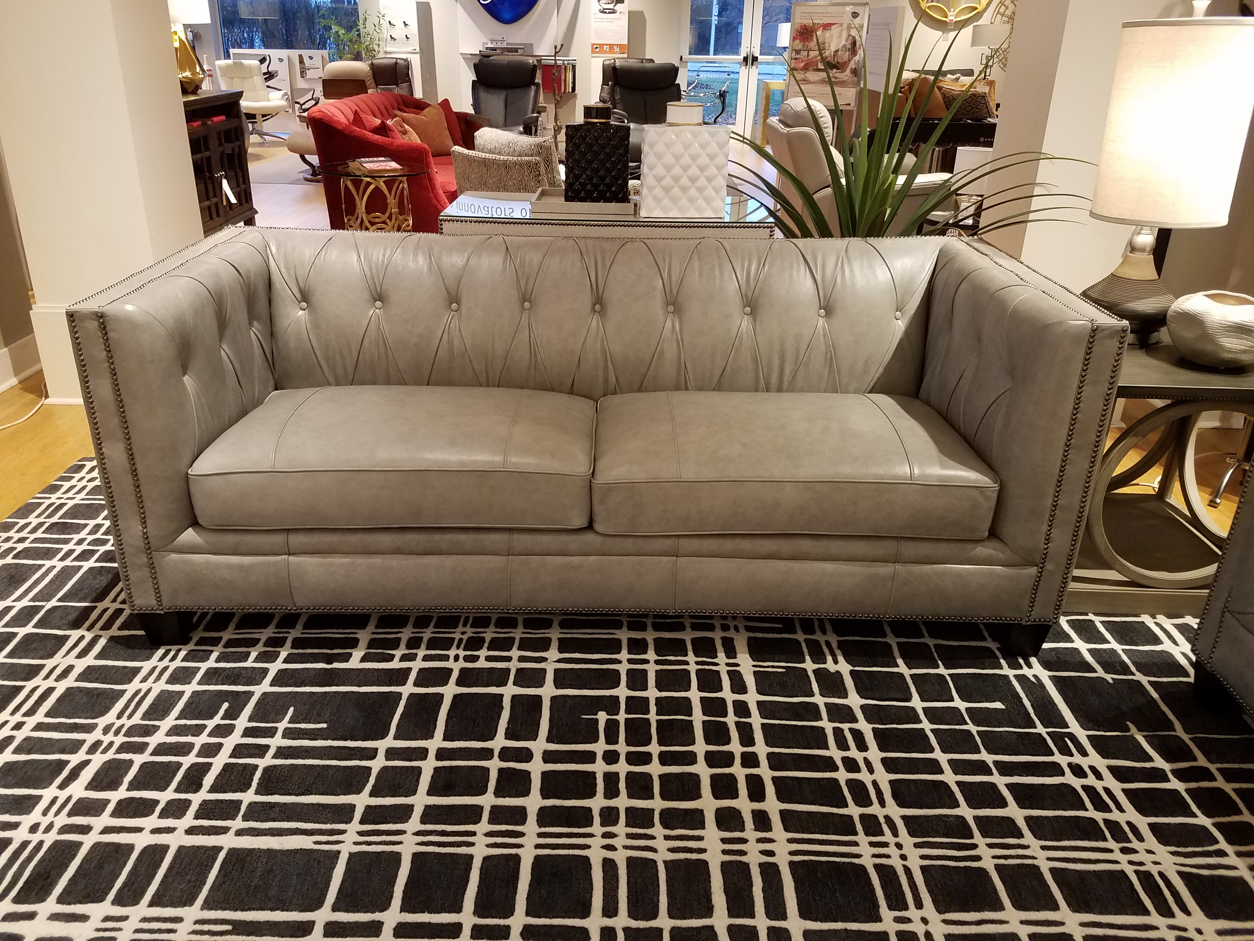 tufted leather sofa cheap quilted designs marlow nv9325stst clr clearance