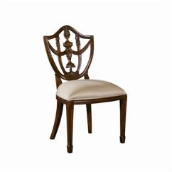 Maitland Smith Dining Chairs Brown Leather For Living Room 8122 40 Carved Polished Mahogany Finish Hepplewhite Shield Back Side Chair Neutral Uph
