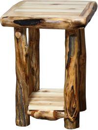 Rustic Log Furniture Living Room Log End Table ETAB-18-NN ...