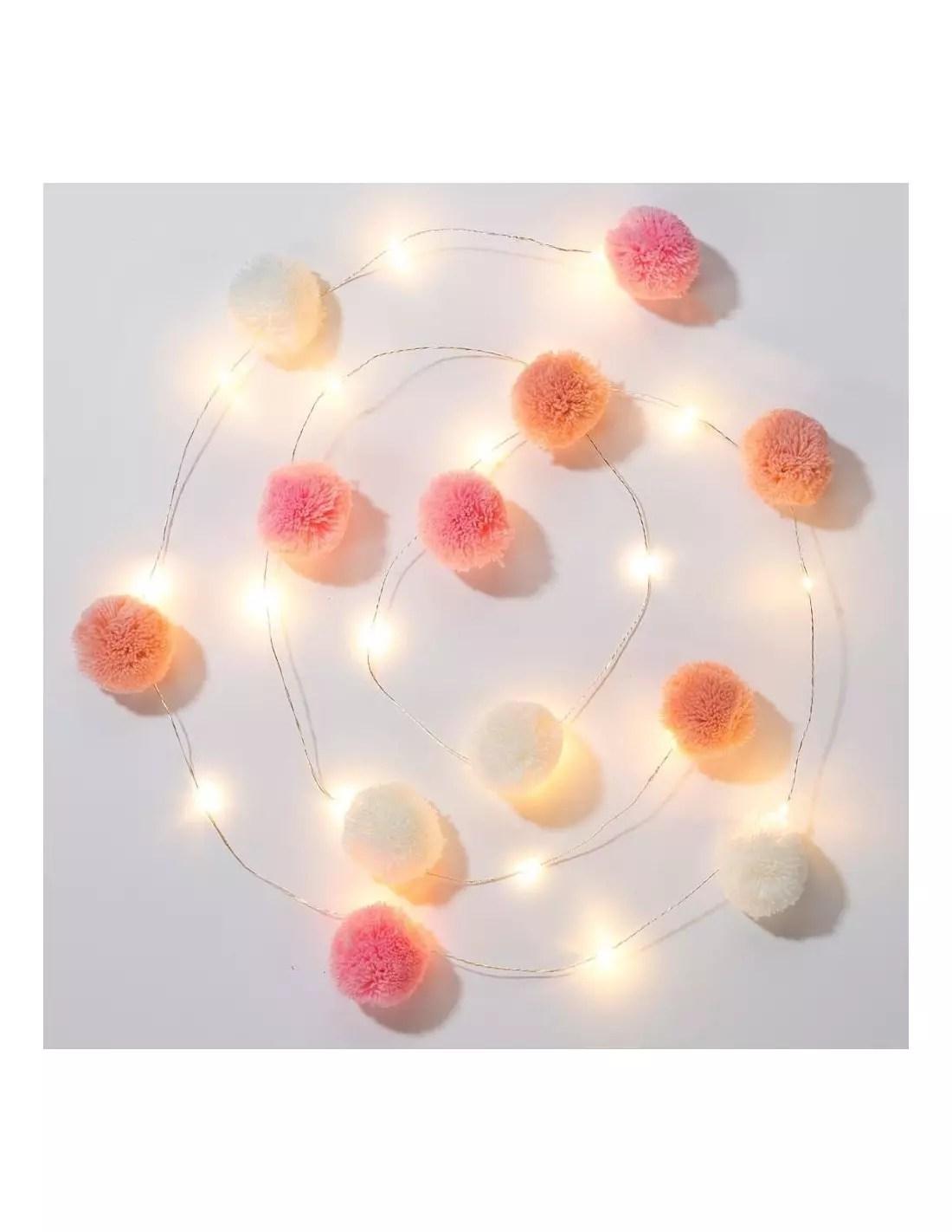 guirlande lumineuse leds 12 pompons roses blancs peche