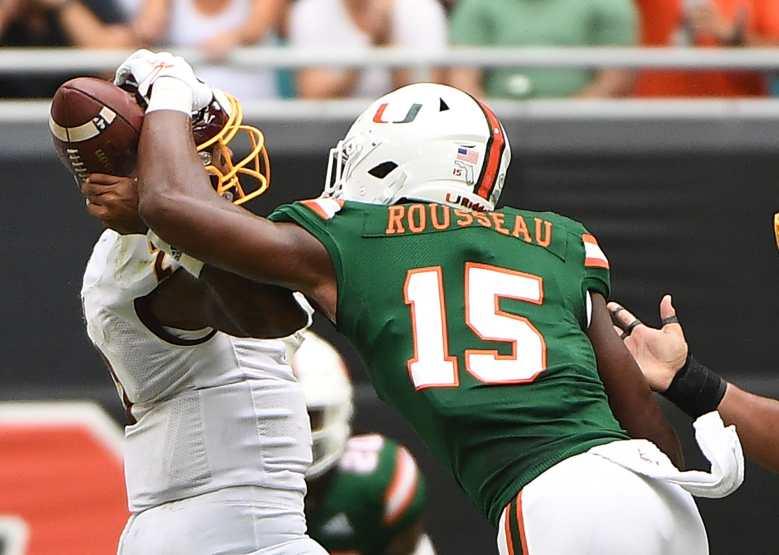 Miami football starts DE Greg Rousseau against Virginia