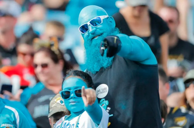 JACKSONVILLE, FLORIDA - DECEMBER 01: Tealman, A Jacksonville Jaguars fan, looks on during the third quarter of a game against the Tampa Bay Buccaneers at TIAA Bank Field on December 01, 2019 in Jacksonville, Florida. (Photo by James Gilbert/Getty Images)