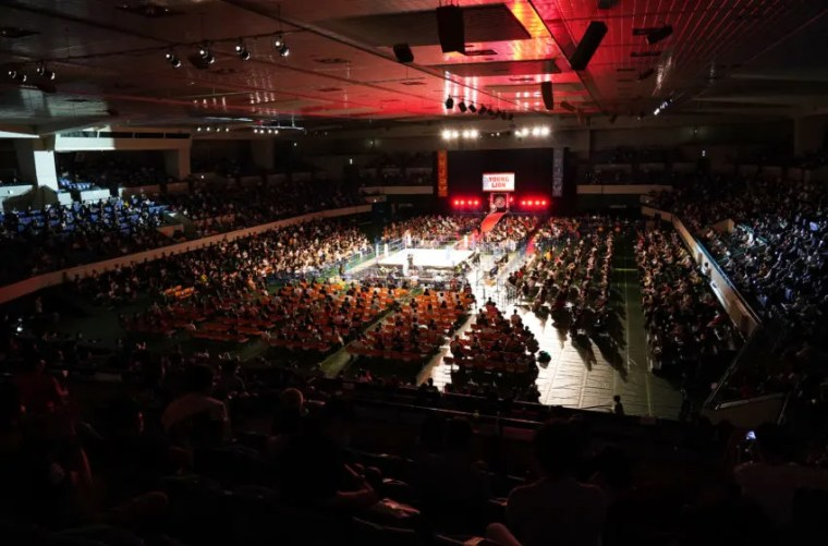NAGOYA, JAPAN - JULY 25: General view during the New Japan Pro-Wrestling 'SENGOKU LORD in NAGOYA' at the Dolphin's Arena on July 25, 2020 in Nagoya, Aichi, Japan. (Photo by Etsuo Hara/Getty Images)