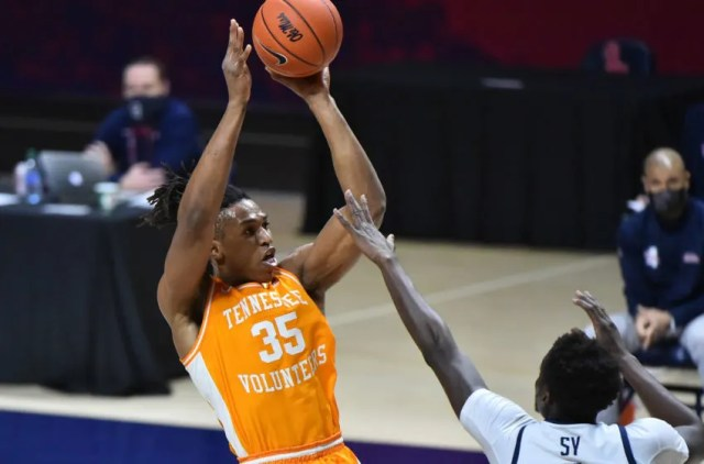 Feb 2, 2021; Oxford, Mississippi, USA; Tennessee Volunteers guard Yves Pons (35) shoots the ball against Mississippi Rebels forward Khadim Sy (3) at The Pavilion at Ole Miss. Mandatory Credit: Justin Ford-USA TODAY Sports