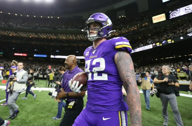Jan 5, 2020; New Orleans, Louisiana, USA; Minnesota Vikings tight end Kyle Rudolph (82) celebrates after catching a pass for a touchdown to defeat the New Orleans Saints during overtime of a NFC Wild Card playoff football game at the Mercedes-Benz Superdome. Mandatory Credit: Chuck Cook -USA TODAY Sports